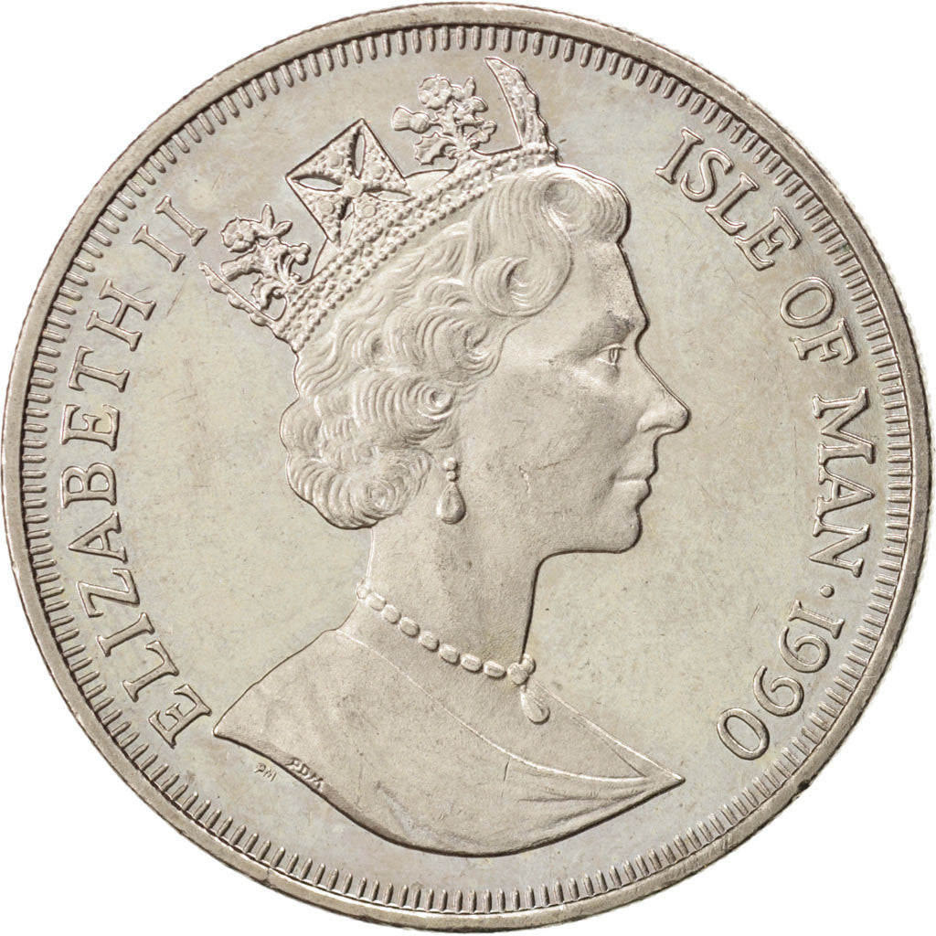 ISLE OF MAN, Crown, 1990, Pobjoy Mint, KM #283, AU(55-58), Copper-Nickel, 38.5,.