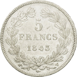 France, Louis-Philippe, 5 Francs, 1843, Lille, AU(50-53), Silver, KM:749.13