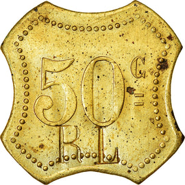 Coin, France, Contremarque R L, Uncertain Mint, 50 Centimes, AU(55-58), Brass