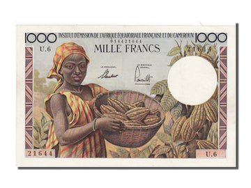 AEF and Cameroon, 1000 Francs, 1957, AU(55-58), U6