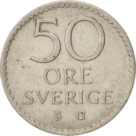 SWEDEN, 50 Ore, 1969, KM #837, AU(55-58), Copper-Nickel, 22