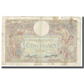 France, 100 Francs, Luc Olivier Merson, 1937, P. Rousseau and R. Favre-Gilly