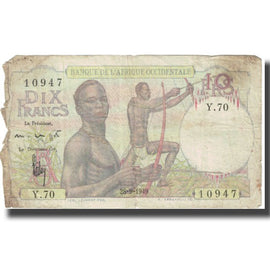 Banknote, French West Africa, 10 Francs, 1949, 1949-09-28, KM:37, VF(20-25)