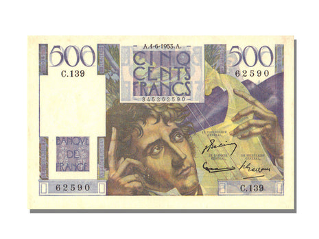 France, 500 Francs, 500 F 1945-1953 ''Chateaubriand'', 1953, KM #129c,...