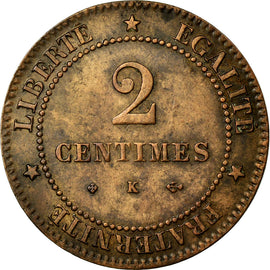 Coin, France, Cérès, 2 Centimes, 1878, Bordeaux, AU(50-53), Bronze, KM:827.2