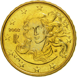 Italy, 10 Euro Cent, 2002, MS(65-70), Brass, KM:213