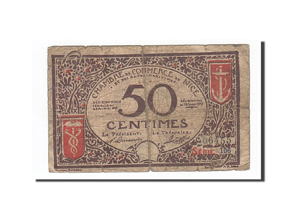 France, Nice, 50 Centimes, 1920, F(12-15), Pirot:91-6