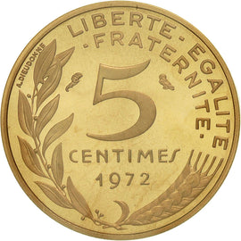 Coin, France, 5 Centimes, 1972, MS(65-70), Gold, KM:P442, Gadoury:22.P3