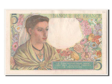 Banknote, France, 5 Francs, 5 F 1943-1947 ''Berger'', 1943, 1943-08-05