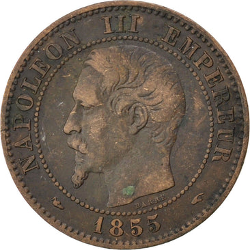 FRANCE, Napoléon III, 2 Centimes, 1855, Paris, KM #776.1, VF(20-25), Bronze, G..