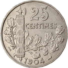 Coin, France, Patey, 25 Centimes, 1904, AU(50-53), Nickel, KM:856, Gadoury:364