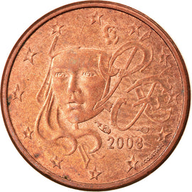 France, Euro Cent, 2008, Paris, EF(40-45), Copper Plated Steel, KM:1282