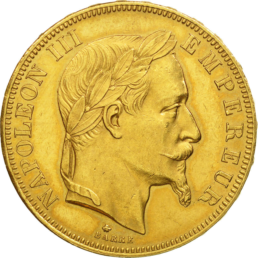 France, Napoleon III, 50 Francs, 1864, Paris, AU(55-58), Gold, KM:804.1