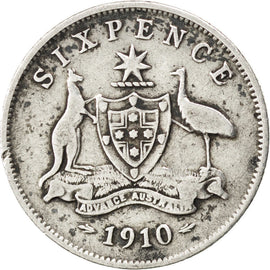 AUSTRALIA, Sixpence, 1910, London, KM #19, VF(20-25), Silver, 19.5, 2.76