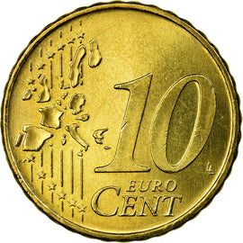 Portugal, 10 Euro Cent, 2002, AU(55-58), Brass, KM:743