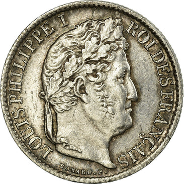 Coin, France, Louis-Philippe, 1/2 Franc, 1837, Lille, AU(55-58), Silver