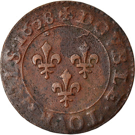 Coin, France, Louis XIII, Double Tournois, 1628, Paris, EF(40-45), Copper