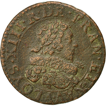 Coin, France, Double Tournois, 1629, Paris, VF(30-35), Copper, CGKL:396
