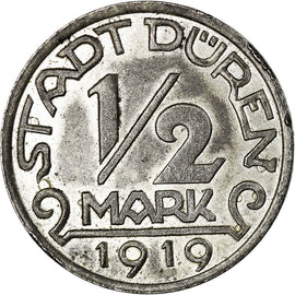 Coin, Germany, Stadt Düren, Düren, 1/2 Mark, 1919, AU(55-58), Iron