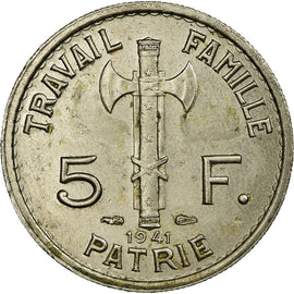Coin, France, 5 Francs, 1941, Paris, AU(50-53), Copper-nickel, KM:901