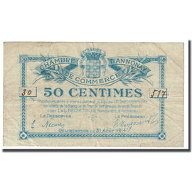 France, Annonay, 50 Centimes, 1914, Chambre de Commerce, VF(20-25), Pirot:11-1
