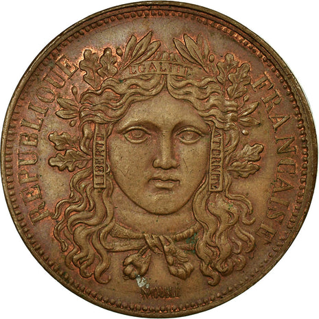 Coin, France, 10 Centimes, 1848, AU(55-58), Bronze, Gadoury:227