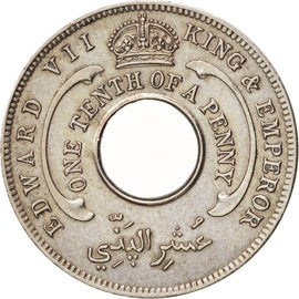 BRITISH WEST AFRICA, Edward VII, 1/10 Penny, 1908, AU(55-58), Copper-nickel