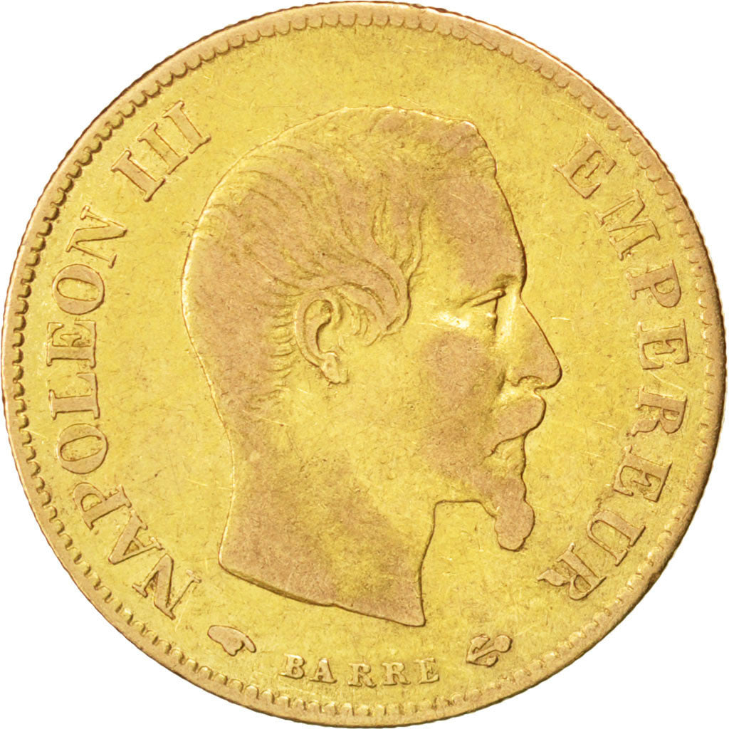 FRANCE, Napoléon III, 10 Francs, 1858, Paris, KM #784.3, VF(30-35), Gold, Gadour