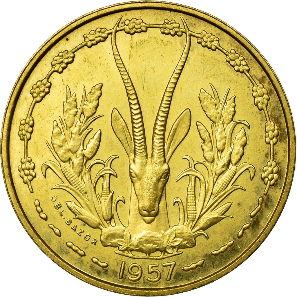 Coin, French West Africa, 10 Francs, 1957, MS(65-70), Aluminum-Bronze