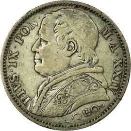 Coin, ITALIAN STATES, PAPAL STATES, Pius IX, 2 Lire, 1869, VF(30-35), Silver