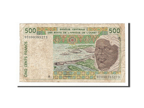 West African States, 500 Francs, 1997, KM #110Ah, VF(20-25), 97090385273