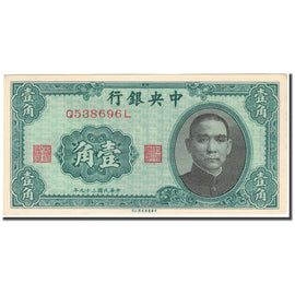 Banknote, China, 1 Chiao = 10 Cents, 1940, KM:226, UNC(65-70)