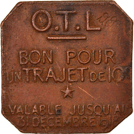 Coin, France, Omnibus Tramways de Lyon, 10 Centimes, 1918, EF(40-45), Brass
