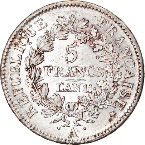 Coin, France, Union et Force, 5 Francs, AN 11, Paris, MS(60-62), Silver