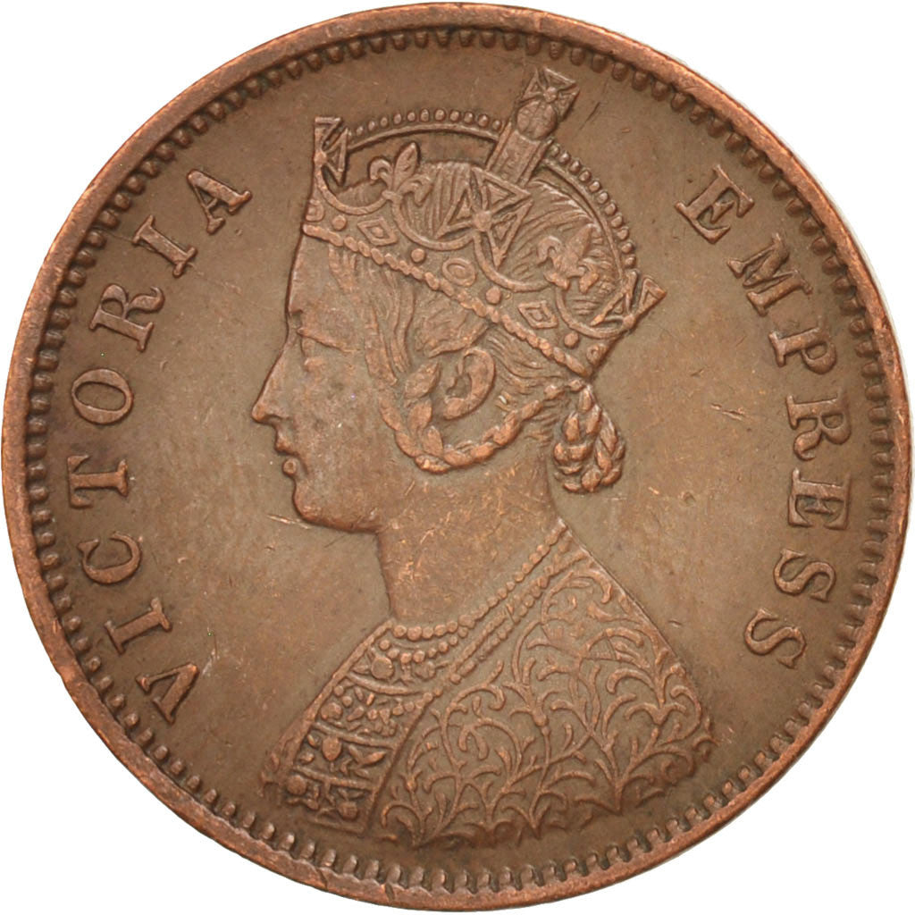 Coin, INDIA-BRITISH, Victoria, 1/4 Anna, 1889, AU(55-58), Copper, KM:486