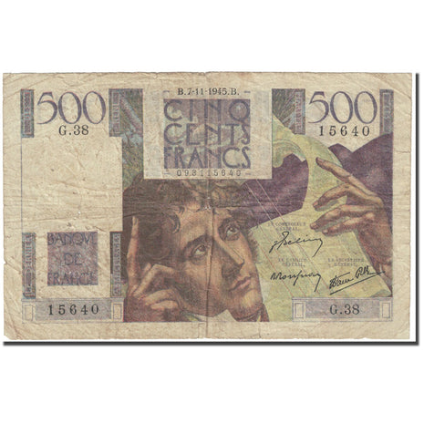 France, 500 Francs, Chateaubriand, 1945, 1945-11-07, AG(1-3), Fayette:34.3