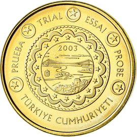 Turkey, 10 Euro Cent, 2003, unofficial private coin, MS(63), Brass