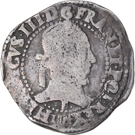 Coin, France, Henri III, Franc au Col Plat, 1584, Angers, VF(20-25), Silver