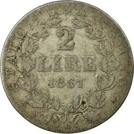 Coin, ITALIAN STATES, PAPAL STATES, Pius IX, 2 Lire, 1867, VF(20-25), Silver