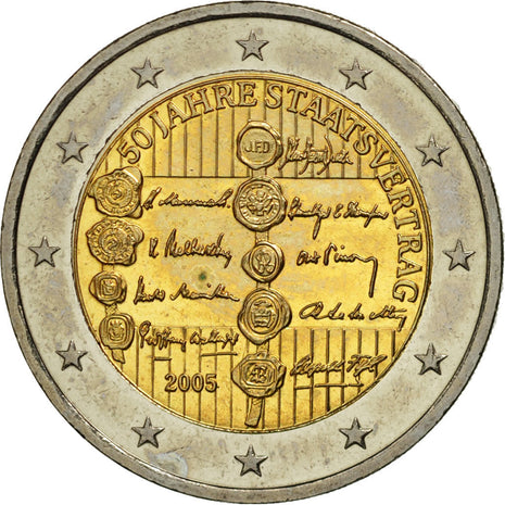 Austria, 2 Euro, 2005, MS(63), Bi-Metallic