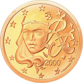 France, 5 Euro Cent, 2000, Proof, MS(65-70), Copper Plated Steel, KM:1284
