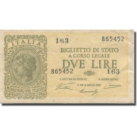 Banknote, Italy, 2 Lire, 1944, 1944-11-23, KM:30a, EF(40-45)