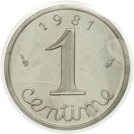 Coin, France, Centime, 1981, Paris, MS(65-70), Silver, KM:P684, Gadoury:4.P2