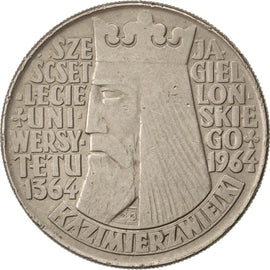 POLAND, 10 Zlotych, 1964, KM #52.1, EF(40-45), Copper-Nickel, 31, 12.88
