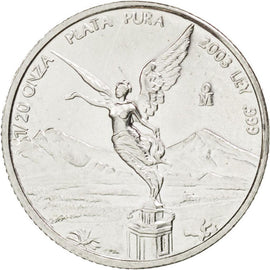 MEXICO, 1/20 Onza, 1/20 Troy Ounce of Silver, 2003, Mexico City, KM #609,...