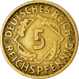 Coin, GERMANY, WEIMAR REPUBLIC, 5 Reichspfennig, 1925, Munich, VF(30-35)