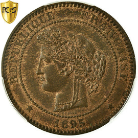 Coin, France, Cérès, 10 Centimes, 1895, Paris, PCGS, MS64RB, MS(64), Bronze