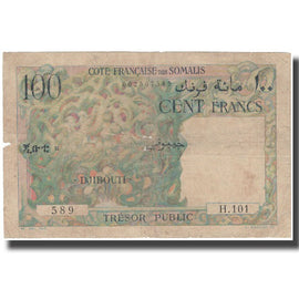Banknote, French Somaliland, 100 Francs, KM:26a, F(12-15)