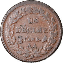 Coin, France, Decime, AN 8, Metz, VF(20-25), Bronze, Gadoury:187a