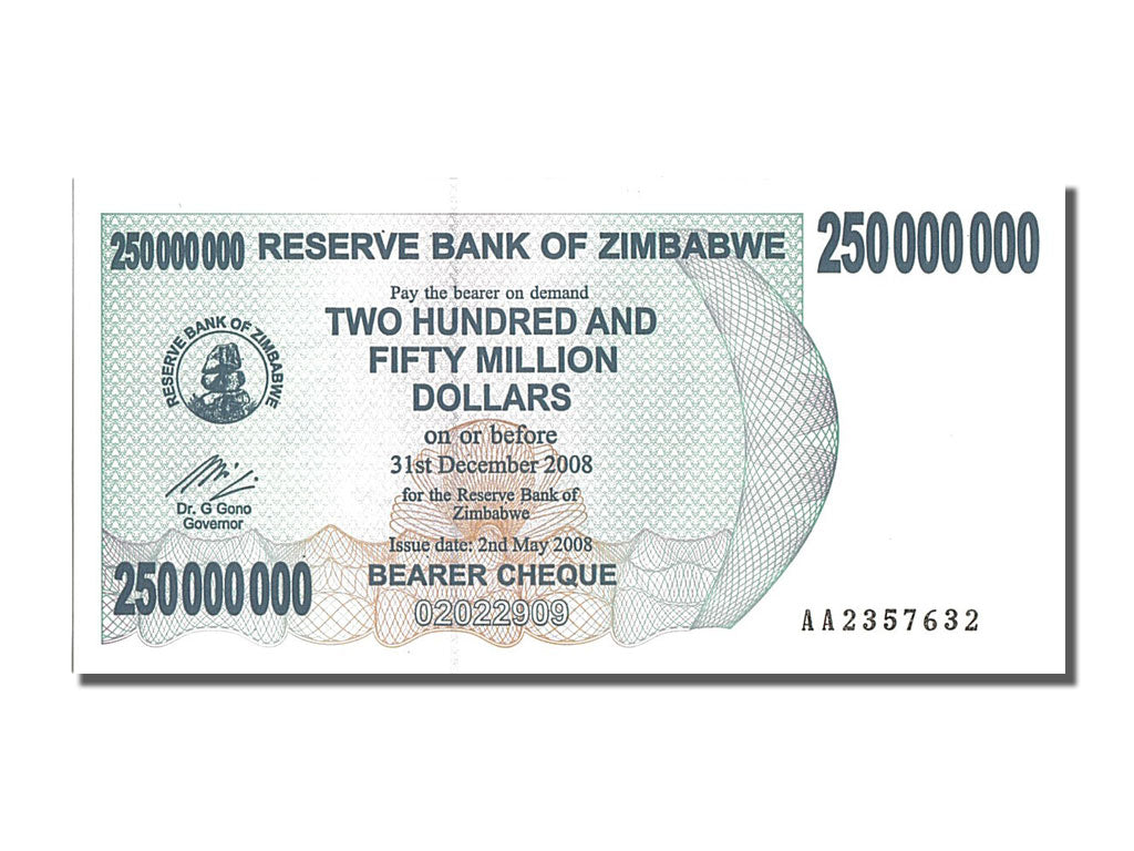 Banknote, Zimbabwe, 250 Million Dollars, 2008, UNC(65-70)